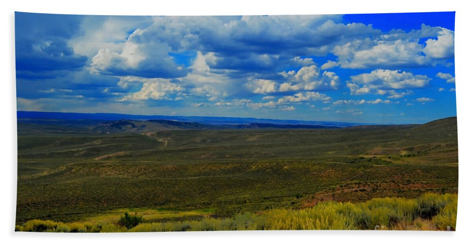 Fine Art Bath Sheet featuring the photograph Wide Open Wyoming Sky by Donna Greene