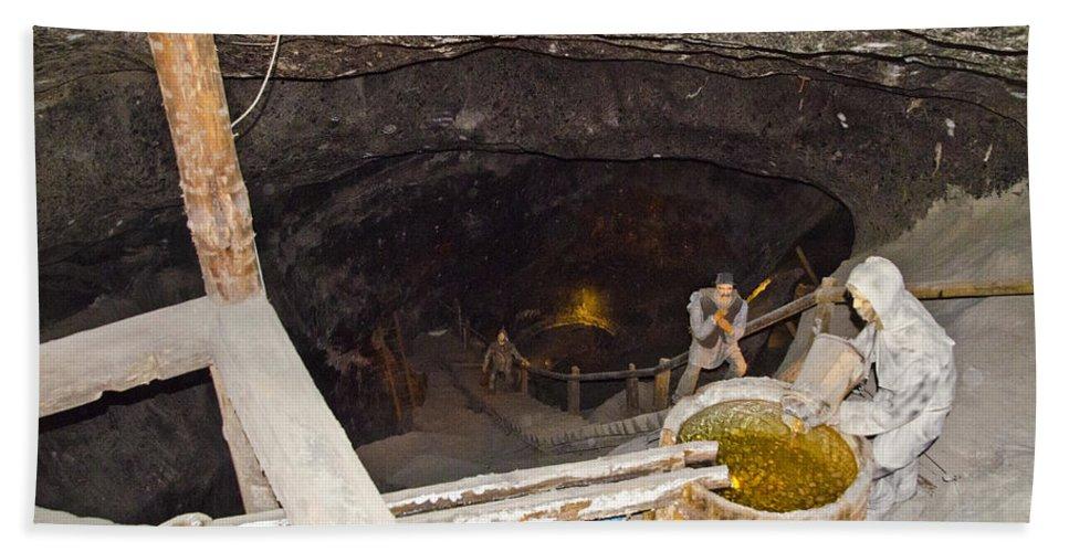 Wieliczka Salt Mine Bath Sheet featuring the photograph Wieliczka Salt Mine by Jon Berghoff