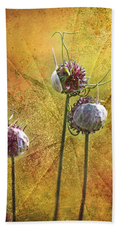 Wild Bath Sheet featuring the photograph Wild Allium Ala Grunge by Kathy Clark
