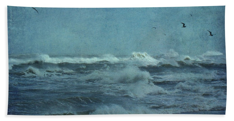 Surf Hand Towel featuring the photograph Wild Blue - High Surf - Outer Banks by Mother Nature