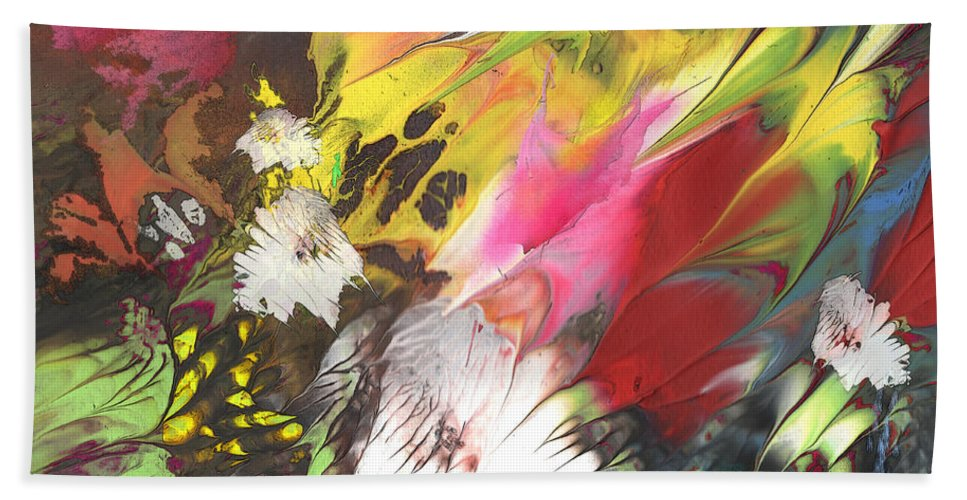 Flowers Hand Towel featuring the painting Wild Flowers 04 by Miki De Goodaboom
