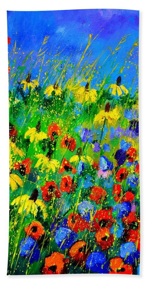 Poppies Hand Towel featuring the painting Wild Flowers 452180 by Pol Ledent