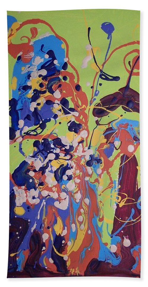 Abstract Paintings Bath Sheet featuring the painting Wild Flowers104 by Seon-Jeong Kim