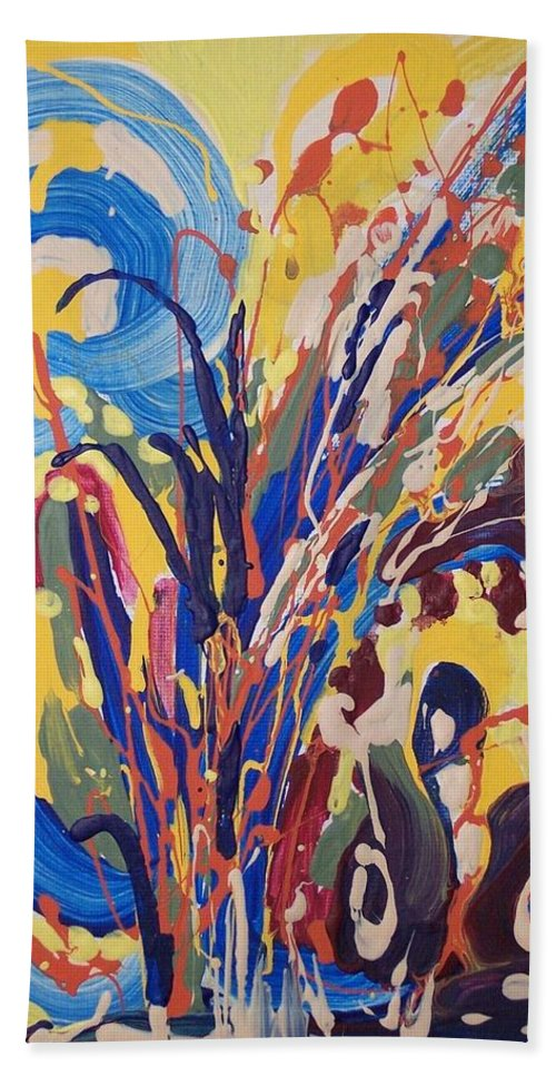 Abstract Paintings Bath Sheet featuring the painting Wild Flowers106 by Seon-Jeong Kim