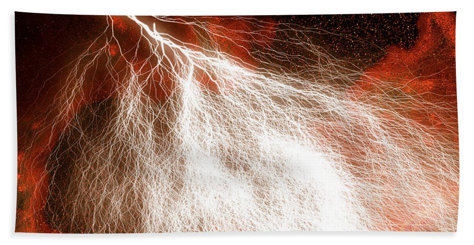 Lightning Art Hand Towel featuring the mixed media Wild Lightning by Carol Cavalaris