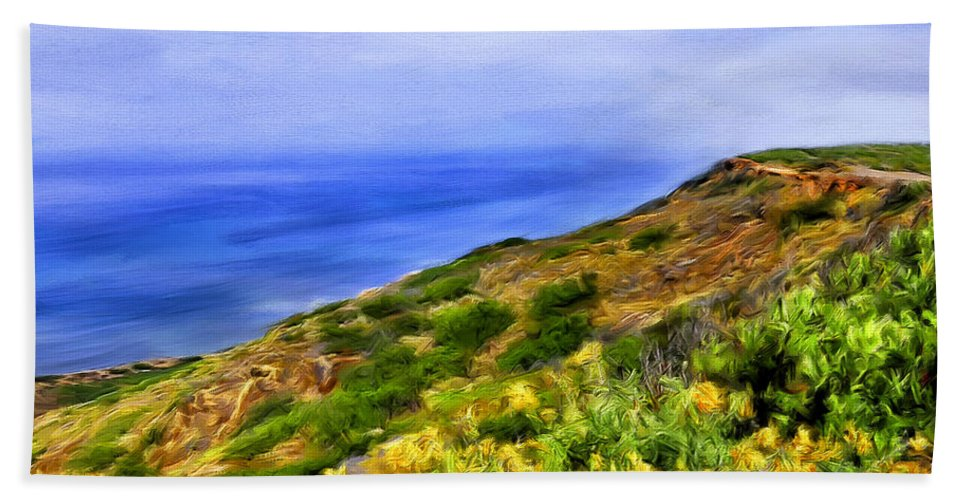 Wildflowers Bath Sheet featuring the painting Wildflowers At Point Loma by Dominic Piperata