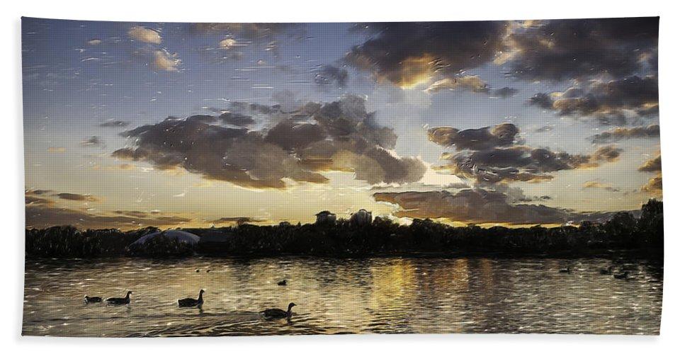 Art Hand Towel featuring the digital art Wimbledon Sunset by Matt Malloy