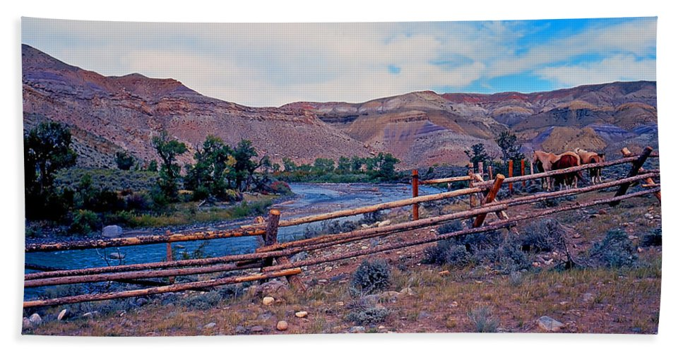 Wyoming Bath Sheet featuring the photograph Wind River And Horses by Rich Walter