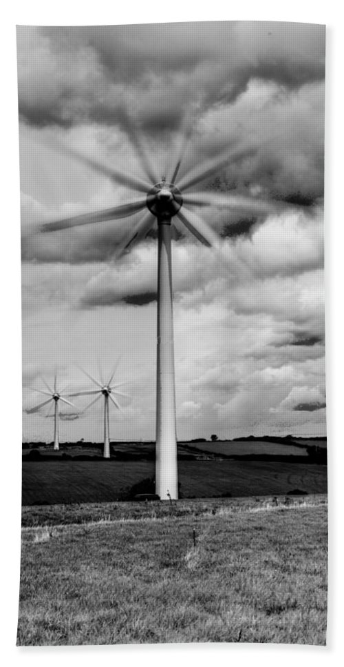 Wind Turbines Bath Sheet featuring the photograph Wind Turbines Mono by Steve Purnell