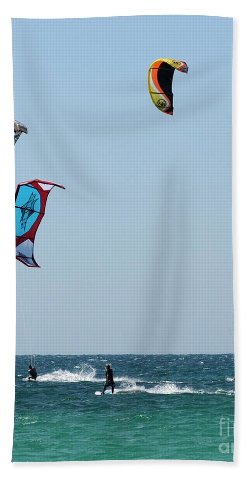 Kite Surfing Bath Sheet featuring the photograph Wind Worshippers by Vivian Christopher