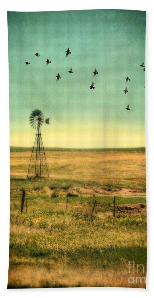 Windmill Hand Towel featuring the photograph Windmill And Birds by Jill Battaglia