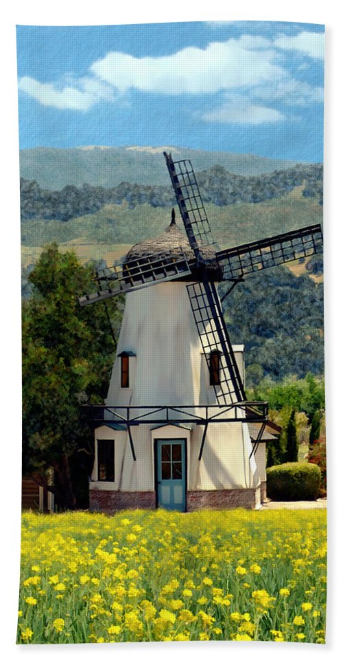 Windmill Bath Sheet featuring the photograph Windmill At Mission Meadows Solvang by Kurt Van Wagner