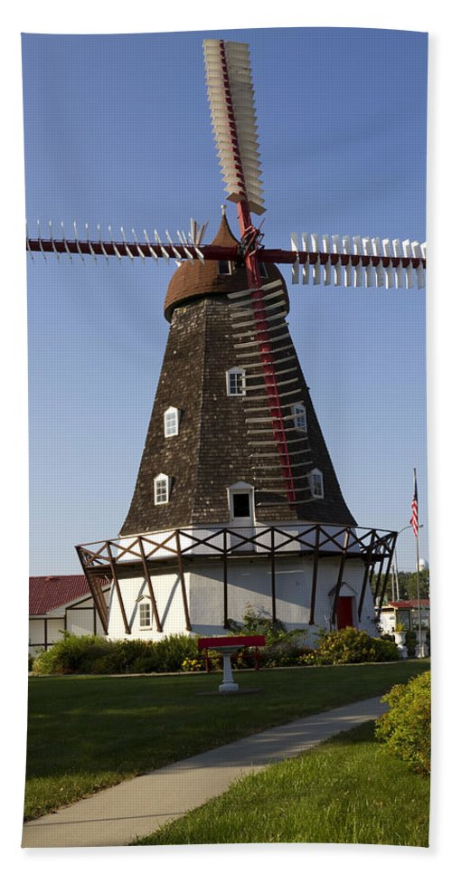 Windmill Bath Sheet featuring the photograph Windmill Danish Style 1 A by John Brueske