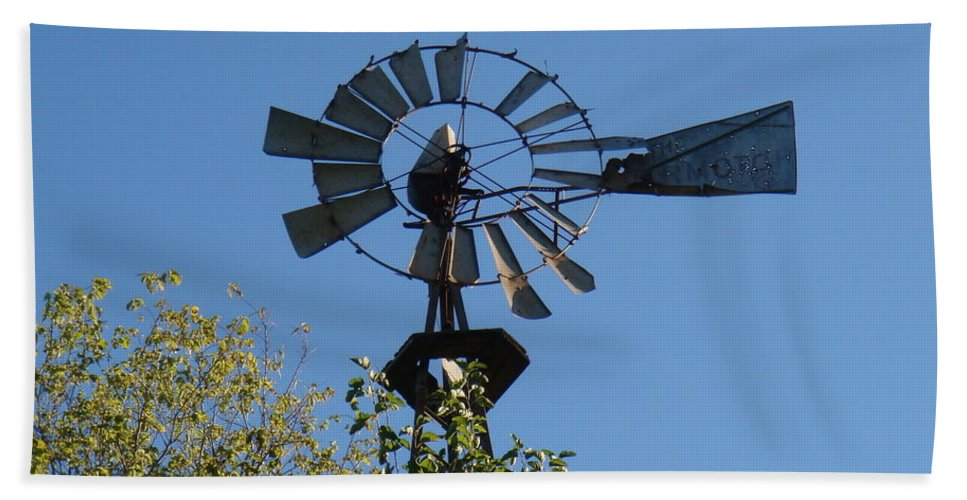 Windmill Hand Towel featuring the photograph Windmill by Bonfire Photography