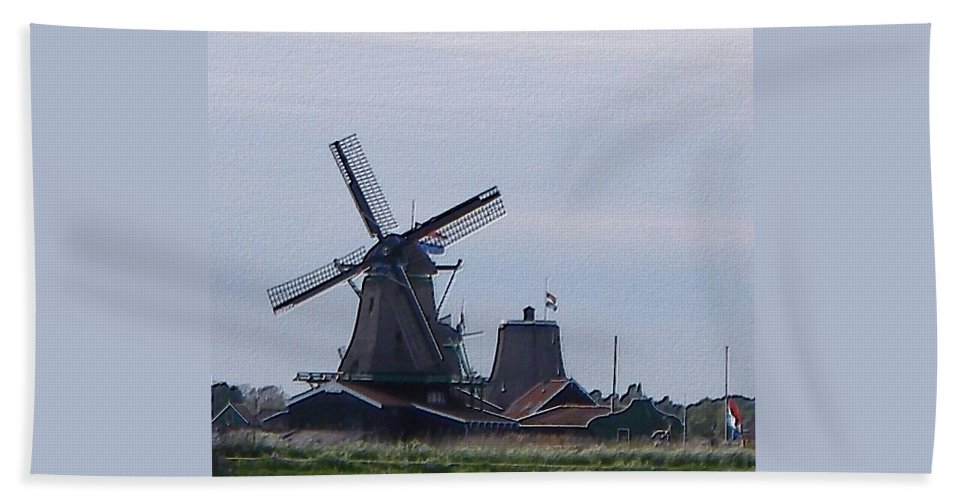 Windmill Hand Towel featuring the photograph Windmill by Manuela Constantin