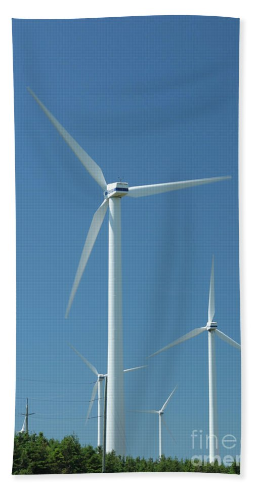 Wind Hand Towel featuring the photograph Windmills by Ted Kinsman
