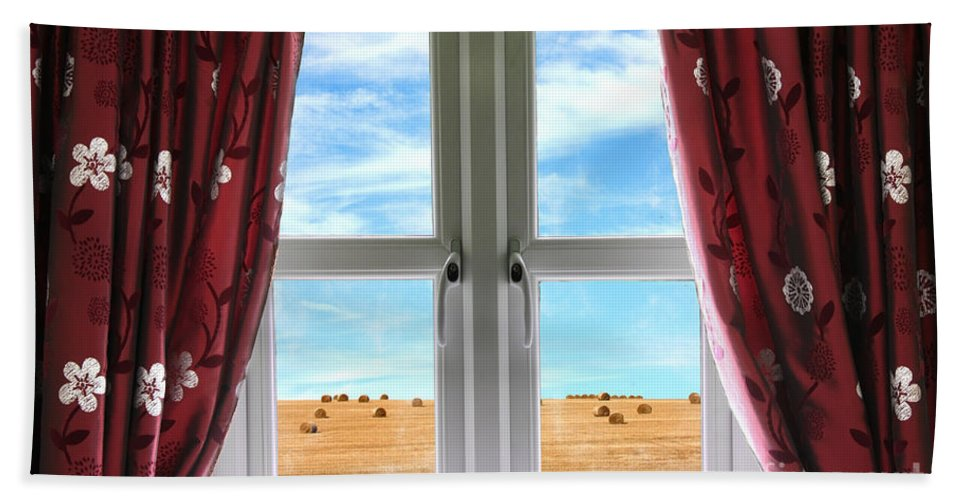 Window Hand Towel featuring the photograph Window And Curtains With View Of Crops by Simon Bratt Photography LRPS