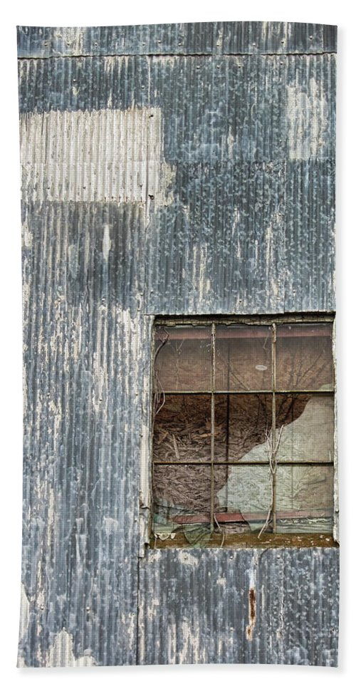Grunge Bath Sheet featuring the photograph Window In Time 2 by Kathy Clark