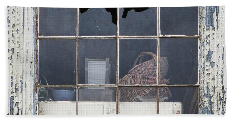 Grunge Bath Sheet featuring the photograph Window In Time by Kathy Clark