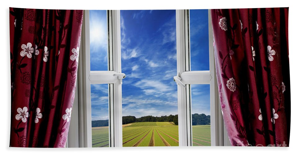 Window Hand Towel featuring the photograph Window View Onto Arable Farmland by Simon Bratt Photography LRPS
