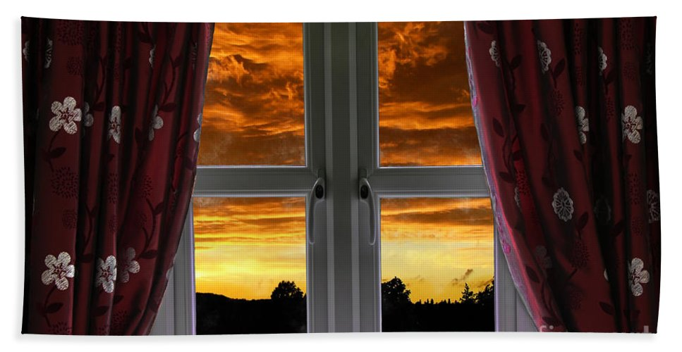 Window Hand Towel featuring the photograph Window With Fiery Sky by Simon Bratt Photography LRPS