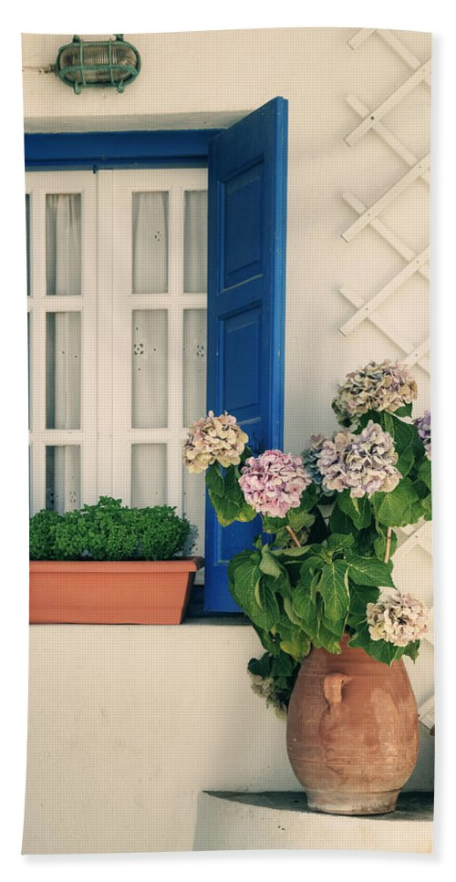 Windows Bath Sheet featuring the photograph Window With Flowers by Joana Kruse