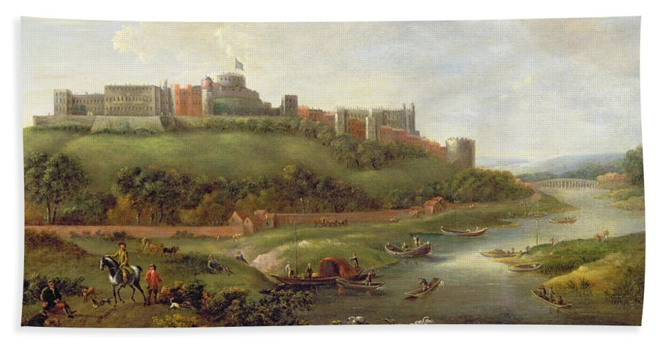 Windsor Bath Sheet featuring the painting Windsor Castle by Hendrick Danckerts