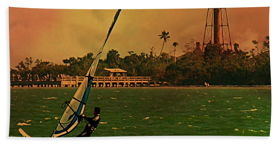 Windsurfer Bath Sheet featuring the digital art Windsurfer In Paradise by Peggy Starks