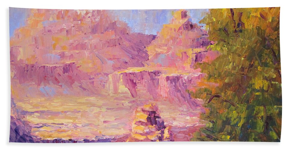 Grand Canyon Hand Towel featuring the painting Windy Day In The Canyon by Terry Chacon