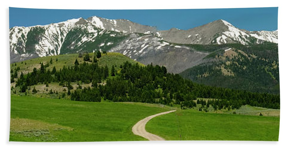 Americas Bath Sheet featuring the photograph Windy Road To The Crazy Mountains by Roderick Bley