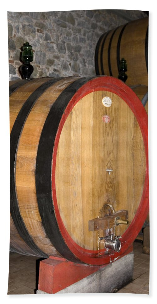 Wood Wine Barrels Hand Towel featuring the photograph Wine Aging by Sally Weigand
