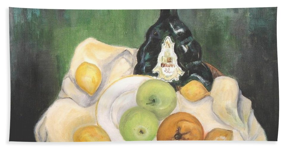 Still Life Hand Towel featuring the painting Wine And Fruit by Caroline Street