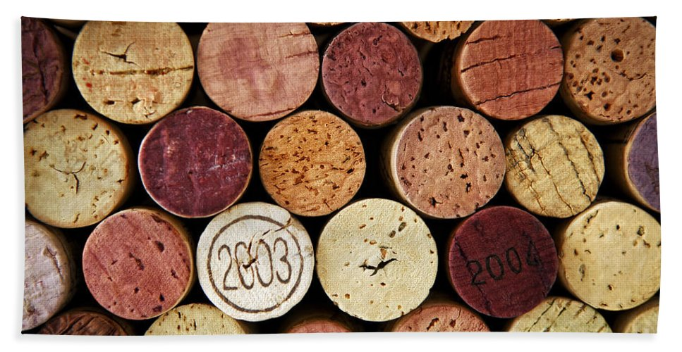 Wine Bath Sheet featuring the photograph Wine Corks by Elena Elisseeva