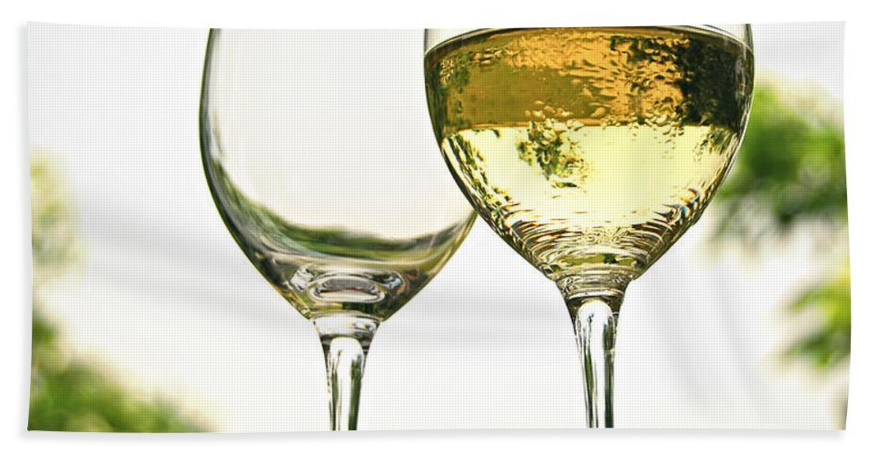 Wine Bath Sheet featuring the photograph Wine Glasses by Elena Elisseeva