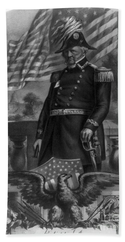 Government Hand Towel featuring the photograph Winfield Scott, American Army General by Photo Researchers