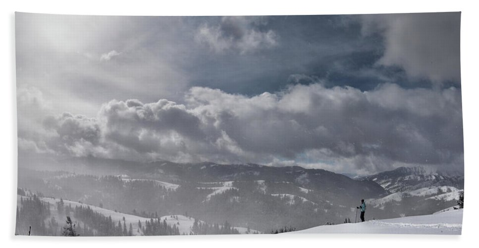 Altitude Bath Sheet featuring the photograph Winter Adventure by Leland D Howard