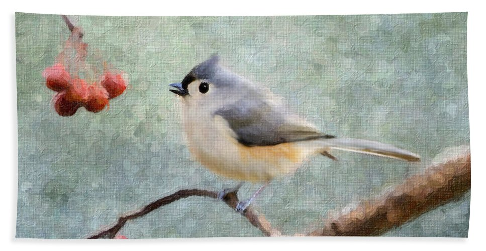 Tufted Titmouse Bath Sheet featuring the photograph Winter Berries by Betty LaRue