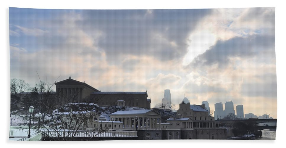 Art Bath Sheet featuring the photograph Winter In Philly by Bill Cannon