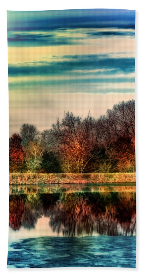 Trees Hand Towel featuring the photograph Winter Lake Fantasm by Bill Tiepelman