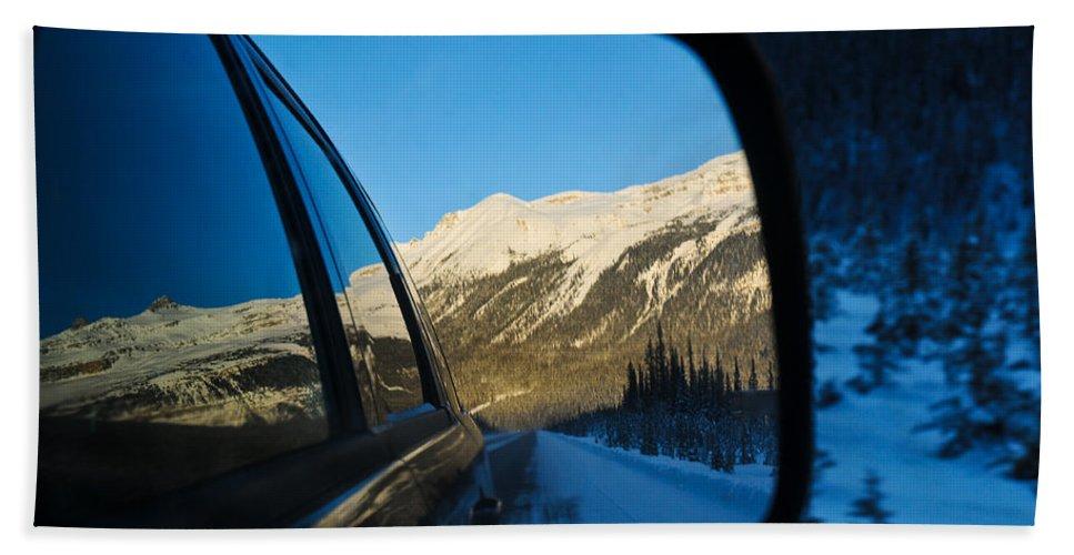 Alp Bath Sheet featuring the photograph Winter Landscape Seen Through A Car Mirror by U Schade