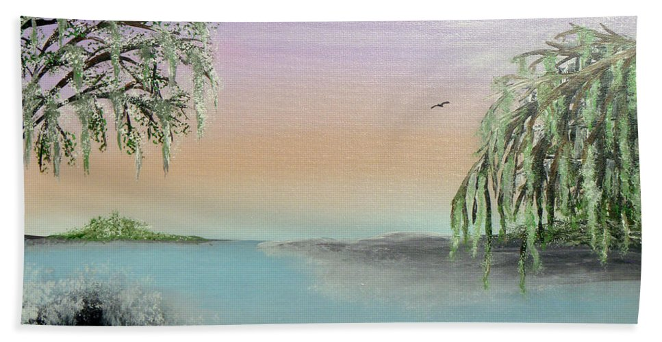 Lake Ponchartrain Hand Towel featuring the painting Winter On Lake Ponchartrain II by Alys Caviness-Gober
