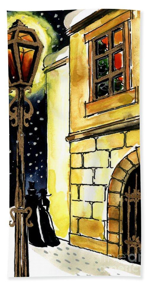 Winter Romance Bath Sheet featuring the painting Winter Romance by Mona Edulesco