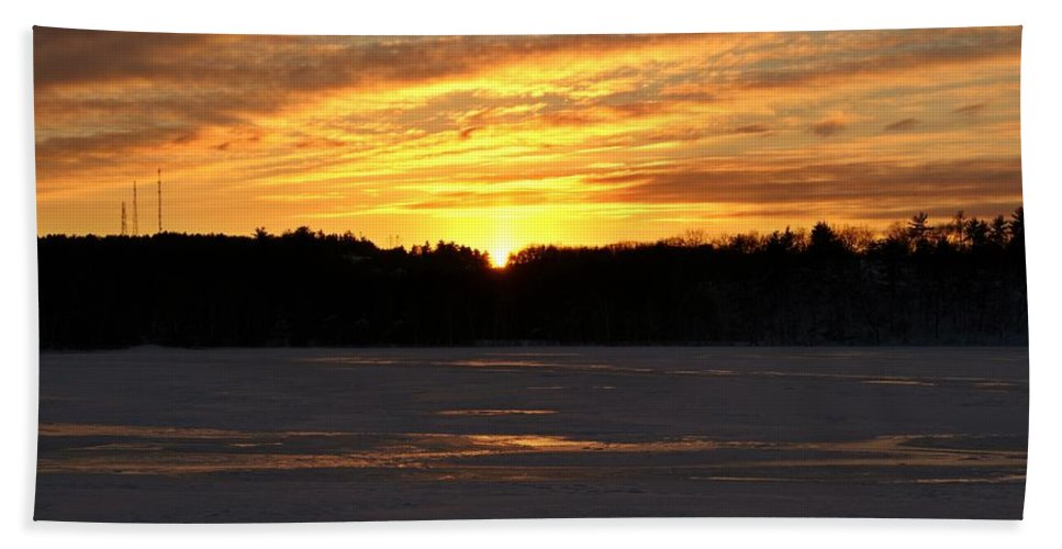 Winter Bath Sheet featuring the photograph Winter Sunset II by Joe Faherty