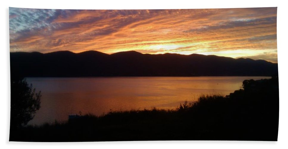 Viganj Bath Towel featuring the photograph Winter sunset by De La Rosa Concert Photography