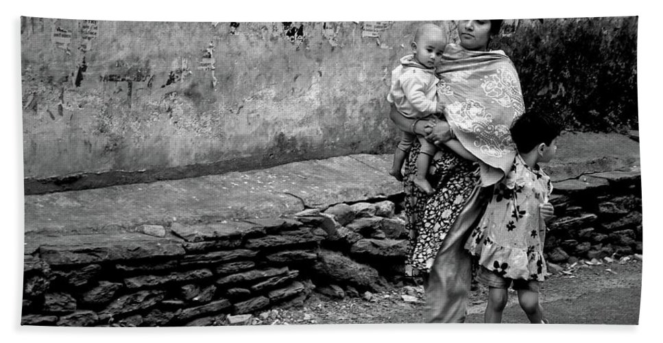 Nepal Bath Sheet featuring the photograph With Hands Held Tightly by Valerie Rosen