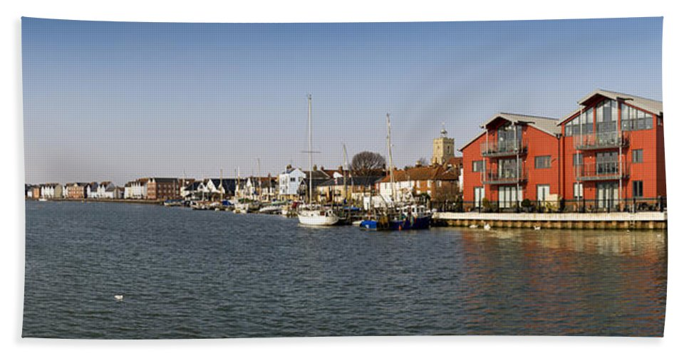 Colchester Bath Sheet featuring the photograph Wivenhoe Waterfront Panorama by Gary Eason