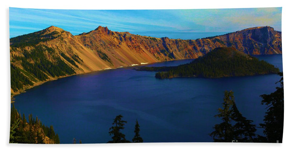 Crater Lake National Park Hand Towel featuring the photograph Wizard In The Crater by Adam Jewell