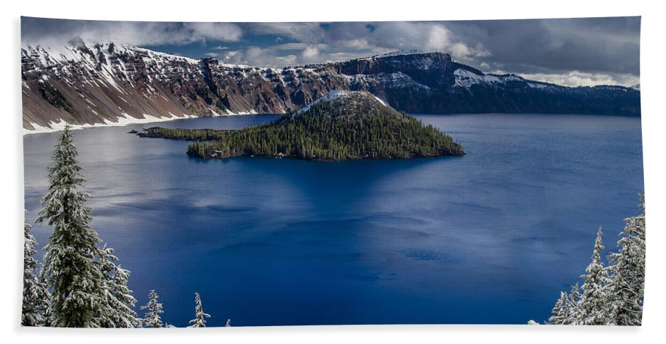 Cascades Hand Towel featuring the photograph Wizard Island by Greg Nyquist
