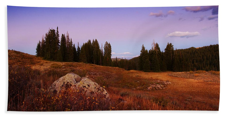 Landscapes Bath Sheet featuring the photograph Wolf Creek Twighlight by La Rae Roberts