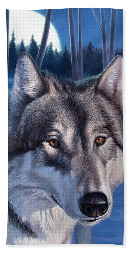 Wolf Hand Towel featuring the painting Wolf In Moonlight by Hans Droog